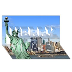 Ny Liberty 1 Merry Xmas 3d Greeting Card (8x4)  by trendistuff