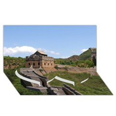 Great Wall Of China 3 Twin Heart Bottom 3d Greeting Card (8x4)  by trendistuff