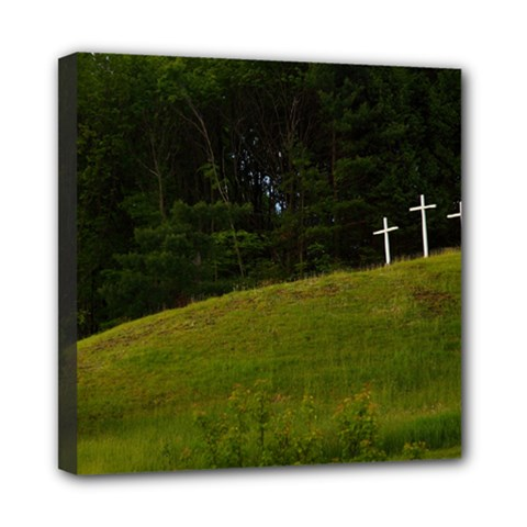 Three Crosses On A Hill Mini Canvas 8  X 8