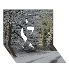 Snow On Road Ribbon 3d Greeting Card (7x5)