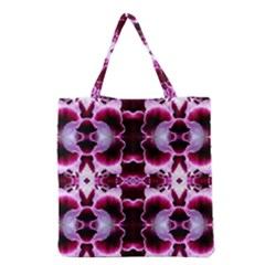White Burgundy Flower Abstract Grocery Tote Bags