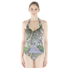 Dark Hedges, Ireland Women s Halter One Piece Swimsuit