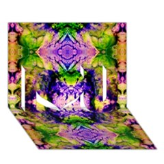 Green,purple Yellow ,goa Pattern I Love You 3d Greeting Card (7x5)  by Costasonlineshop