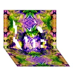 Green,purple Yellow ,goa Pattern Love 3d Greeting Card (7x5)  by Costasonlineshop
