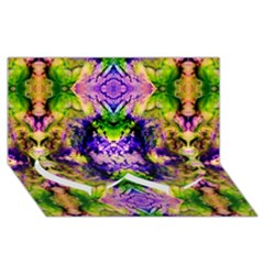 Green,purple Yellow ,goa Pattern Twin Heart Bottom 3d Greeting Card (8x4)  by Costasonlineshop