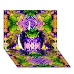 Green,purple Yellow ,goa Pattern Apple 3d Greeting Card (7x5)  by Costasonlineshop