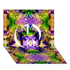 Green,purple Yellow ,goa Pattern Peace Sign 3d Greeting Card (7x5)  by Costasonlineshop
