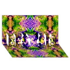 Green,purple Yellow ,goa Pattern Best Sis 3d Greeting Card (8x4)  by Costasonlineshop