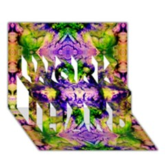 Green,purple Yellow ,goa Pattern Work Hard 3d Greeting Card (7x5)  by Costasonlineshop