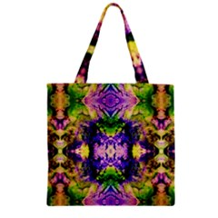 Green,purple Yellow ,goa Pattern Zipper Grocery Tote Bags by Costasonlineshop