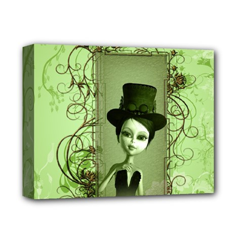 Cute Girl With Steampunk Hat And Floral Elements Deluxe Canvas 14  X 11  by FantasyWorld7