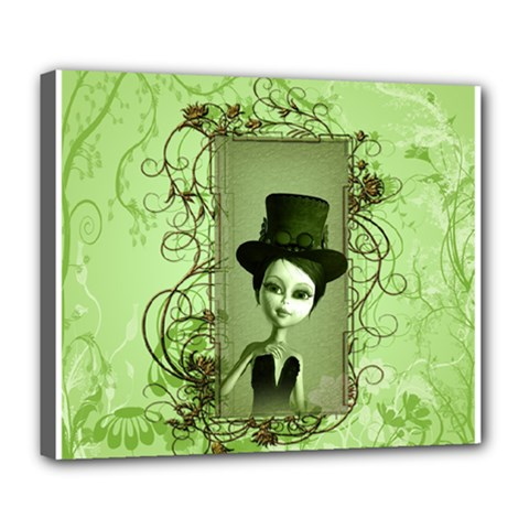 Cute Girl With Steampunk Hat And Floral Elements Deluxe Canvas 24  X 20   by FantasyWorld7