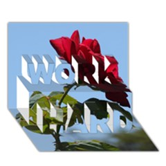 Red Rose 2 Work Hard 3d Greeting Card (7x5)  by trendistuff