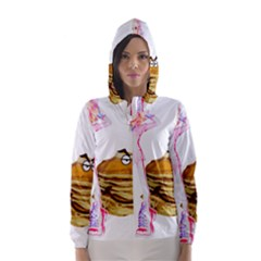 Mal Girl And Mr Pancake Hooded Wind Breaker (women) by michaelandrewlaw