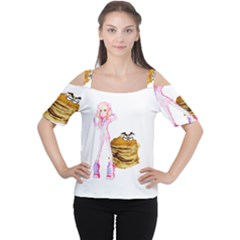 Mal Girl And Mr Pancake Women s Cutout Shoulder Tee by michaelandrewlaw