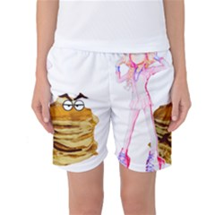 Mal Girl And Mr Pancake Women s Basketball Shorts by michaelandrewlaw