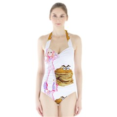 Mal Girl And Mr Pancake Women s Halter One Piece Swimsuit by michaelandrewlaw