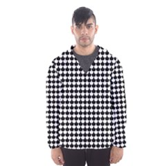 Black And White Scallop Repeat Pattern Hooded Wind Breaker (men)