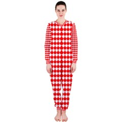 Red And White Scallop Repeat Pattern Onepiece Jumpsuit (ladies)
