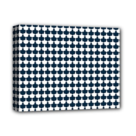 Navy And White Scallop Repeat Pattern Deluxe Canvas 14  X 11  by PaperandFrill