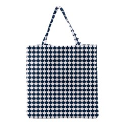 Navy And White Scallop Repeat Pattern Grocery Tote Bags by PaperandFrill
