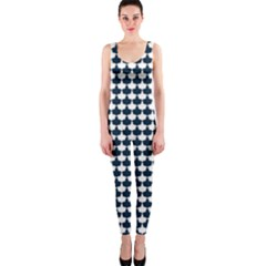 Navy And White Scallop Repeat Pattern Onepiece Catsuits