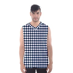 Navy And White Scallop Repeat Pattern Men s Basketball Tank Top