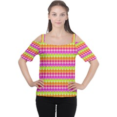 Scallop Pattern Repeat In 'la' Bright Colors Women s Cutout Shoulder Tee by PaperandFrill