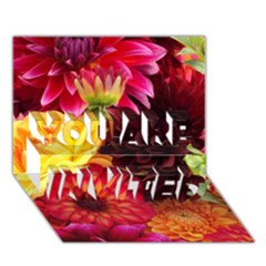 Bunch Of Flowers You Are Invited 3d Greeting Card (7x5)  by trendistuff