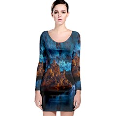 Reed Flute Caves 1 Long Sleeve Bodycon Dresses