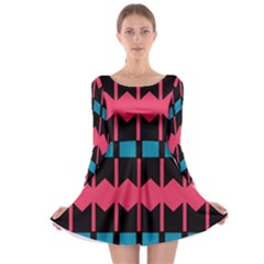 Rhombus And Stripes Pattern Long Sleeve Skater Dress by LalyLauraFLM