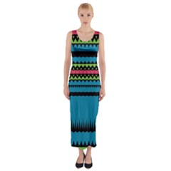 Chevrons And Triangles Fitted Maxi Dress