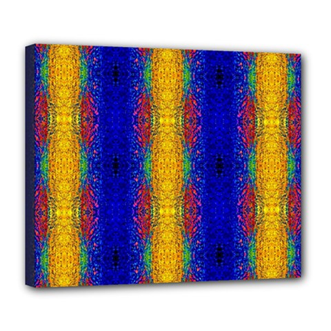 Cool  Abstract Neon Pattern Deluxe Canvas 24  X 20   by Costasonlineshop