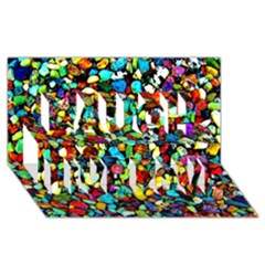 Colorful Stones, Nature Laugh Live Love 3d Greeting Card (8x4)  by Costasonlineshop