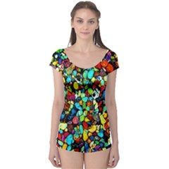 Colorful Stones, Nature Short Sleeve Leotard