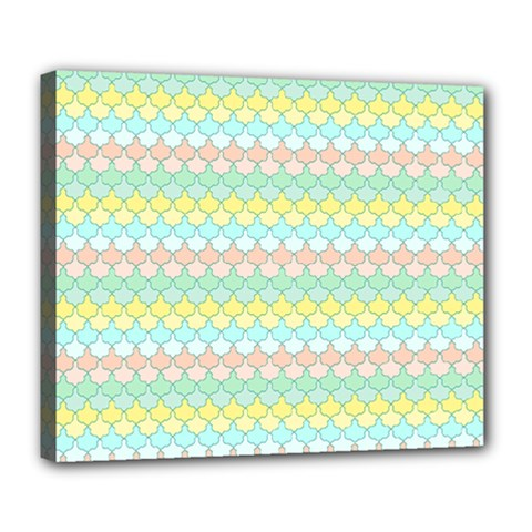 Scallop Repeat Pattern In Miami Pastel Aqua, Pink, Mint And Lemon Deluxe Canvas 24  X 20   by PaperandFrill