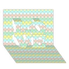 Scallop Repeat Pattern In Miami Pastel Aqua, Pink, Mint And Lemon Love 3d Greeting Card (7x5)  by PaperandFrill