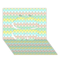Scallop Repeat Pattern In Miami Pastel Aqua, Pink, Mint And Lemon Clover 3d Greeting Card (7x5)  by PaperandFrill