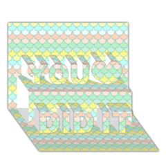 Scallop Repeat Pattern In Miami Pastel Aqua, Pink, Mint And Lemon You Did It 3d Greeting Card (7x5) by PaperandFrill