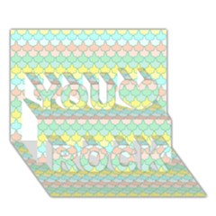 Scallop Repeat Pattern In Miami Pastel Aqua, Pink, Mint And Lemon You Rock 3d Greeting Card (7x5)  by PaperandFrill