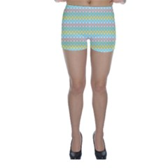 Scallop Repeat Pattern In Miami Pastel Aqua, Pink, Mint And Lemon Skinny Shorts by PaperandFrill