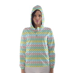 Scallop Repeat Pattern In Miami Pastel Aqua, Pink, Mint And Lemon Hooded Wind Breaker (women) by PaperandFrill