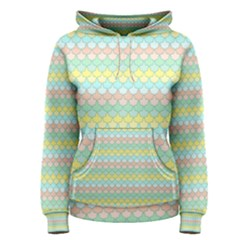 Scallop Repeat Pattern In Miami Pastel Aqua, Pink, Mint And Lemon Women s Pullover Hoodies by PaperandFrill