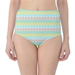 Scallop Repeat Pattern In Miami Pastel Aqua, Pink, Mint And Lemon High-waist Bikini Bottoms by PaperandFrill