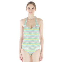 Scallop Repeat Pattern In Miami Pastel Aqua, Pink, Mint And Lemon Women s Halter One Piece Swimsuit by PaperandFrill