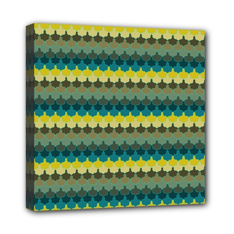 Scallop Pattern Repeat In  new York  Teal, Mustard, Grey And Moss Mini Canvas 8  X 8  by PaperandFrill