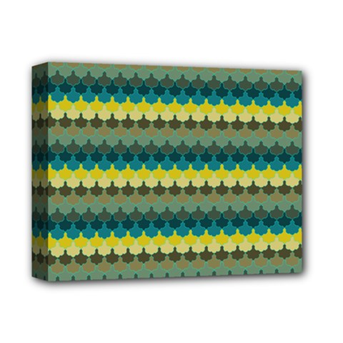 Scallop Pattern Repeat In  new York  Teal, Mustard, Grey And Moss Deluxe Canvas 14  X 11  by PaperandFrill