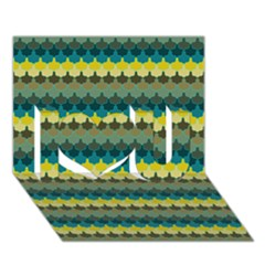 Scallop Pattern Repeat In  new York  Teal, Mustard, Grey And Moss I Love You 3d Greeting Card (7x5)
