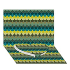 Scallop Pattern Repeat In  new York  Teal, Mustard, Grey And Moss Heart Bottom 3d Greeting Card (7x5)  by PaperandFrill