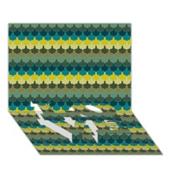 Scallop Pattern Repeat In  new York  Teal, Mustard, Grey And Moss Love Bottom 3d Greeting Card (7x5)  by PaperandFrill